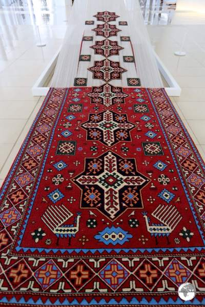One of many fascinating displays inside the Heydar Aliyev Centre, a deconstructed Azerbaijani rug.