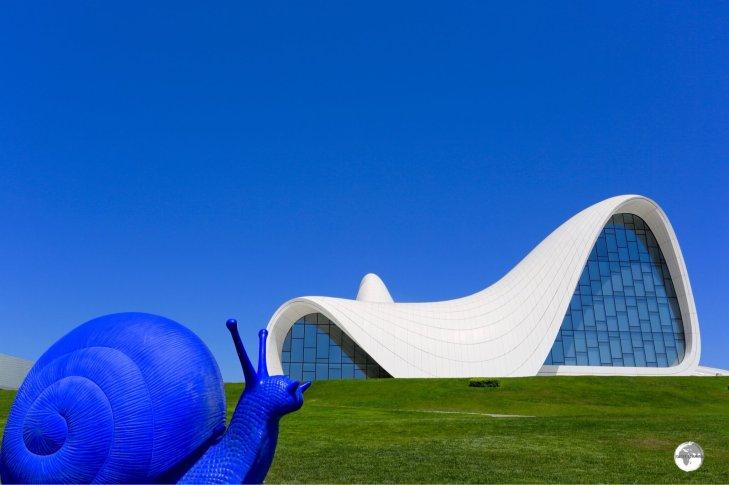 Funky artwork and the amazing Zaha Hadid-designed Heydar Aliyev Centre.