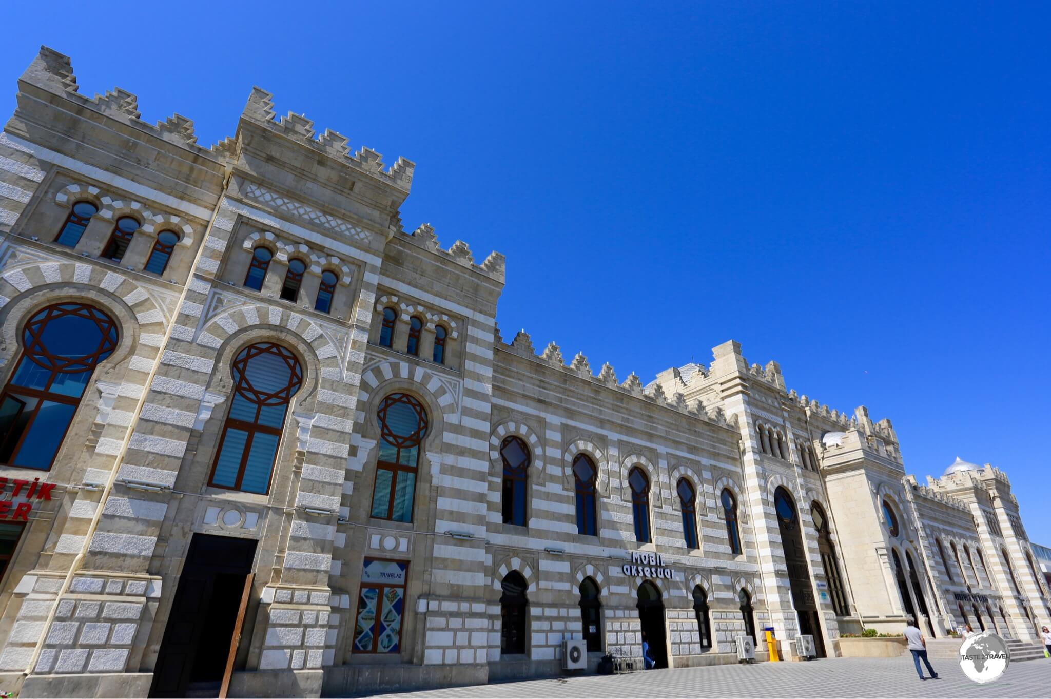 The exterior of the historic Baku Central Train Station.