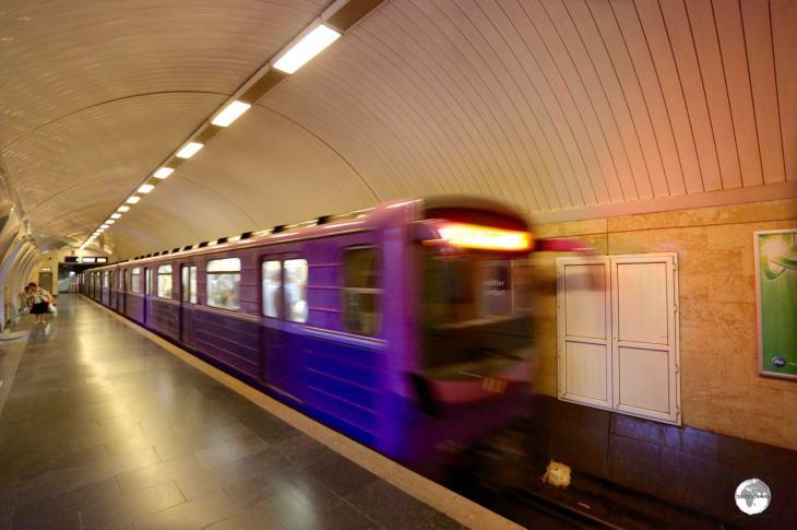 A Baku metro train.
