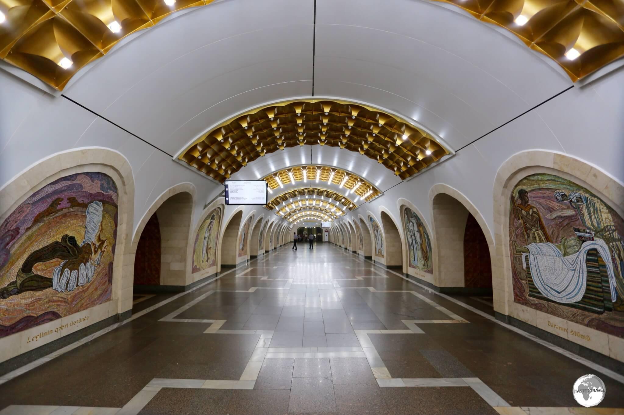 Tile mosaics line the walls of Nizami Metro Station.