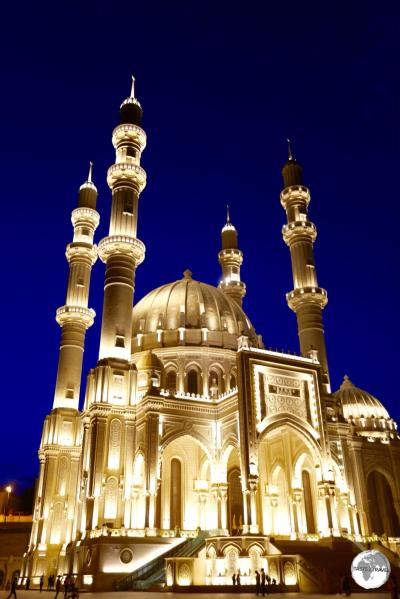 An impressive site, the Heydar Mosque illuminated during the Blue Hour.