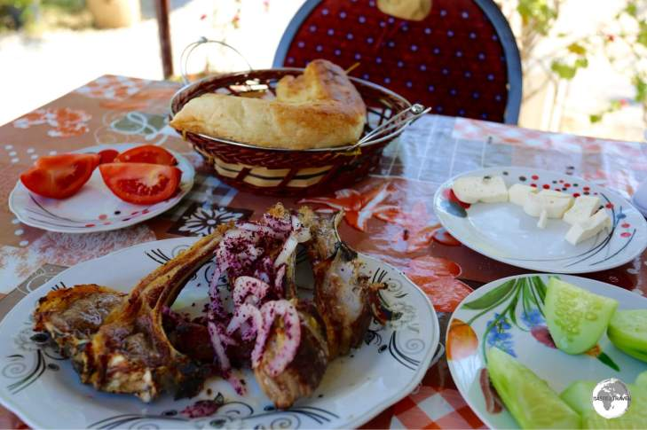A delicious meal, featuring local lamb, at a roadside restaurant on the road to Sheki.