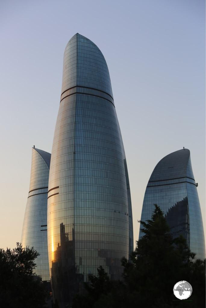 A symbol of a modern and confident city, the Flame Towers dominate the skyline of Baku