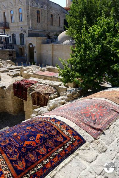 Rugs for sale in the old town of Baku.