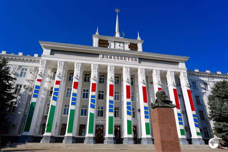 The Dom Sovetov (House of Soviets), serves as the Tiraspol City Hall and is fronted by a bust of Lenin.