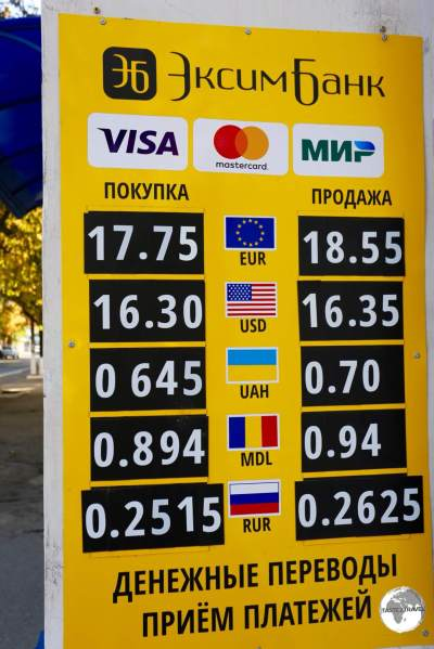 Ruble exchange rates displayed at a bank in Tiraspol.