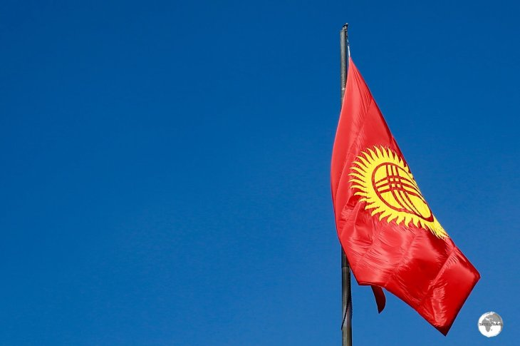 The flag of Kyrgyzstan.