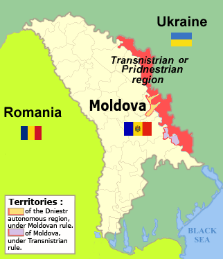 Transnistria Travel Guide: A regional map showing the thin slither of territory which is the breakaway 'Republic of Transnistria'.