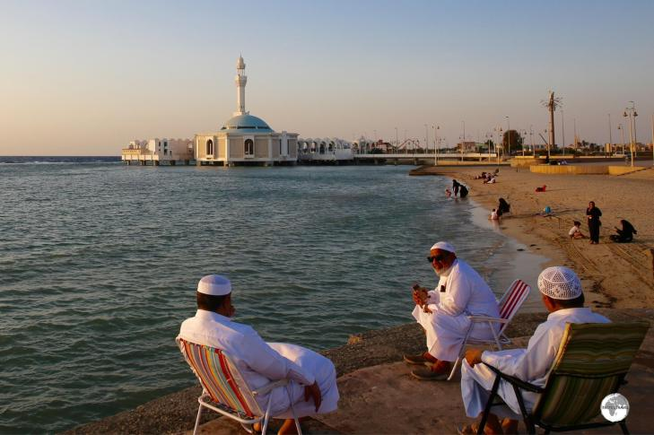 Locals enjoying a Red Sea sunset near the Floating mosque.