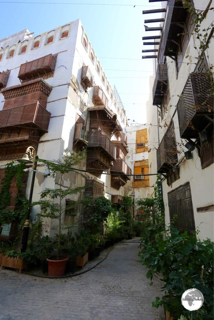 A shady street in the Al Balad historic district of Jeddah.
