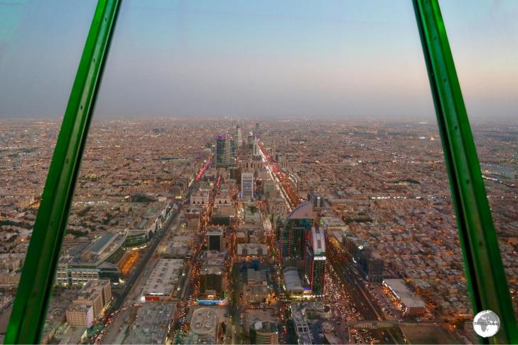 A view of Riyadh at dusk from the Sky bridge at Kingdom Centre.