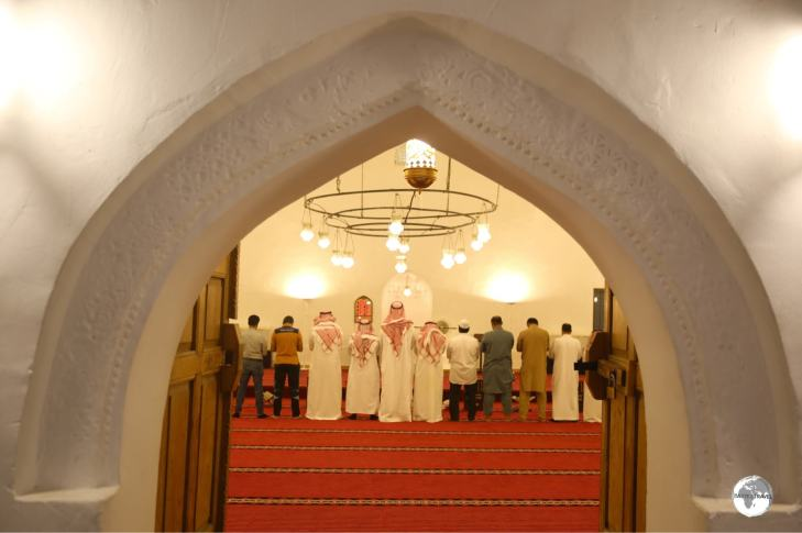 Worshippers inside the historic Al-Qubba mosque at Ibrahim Palace.