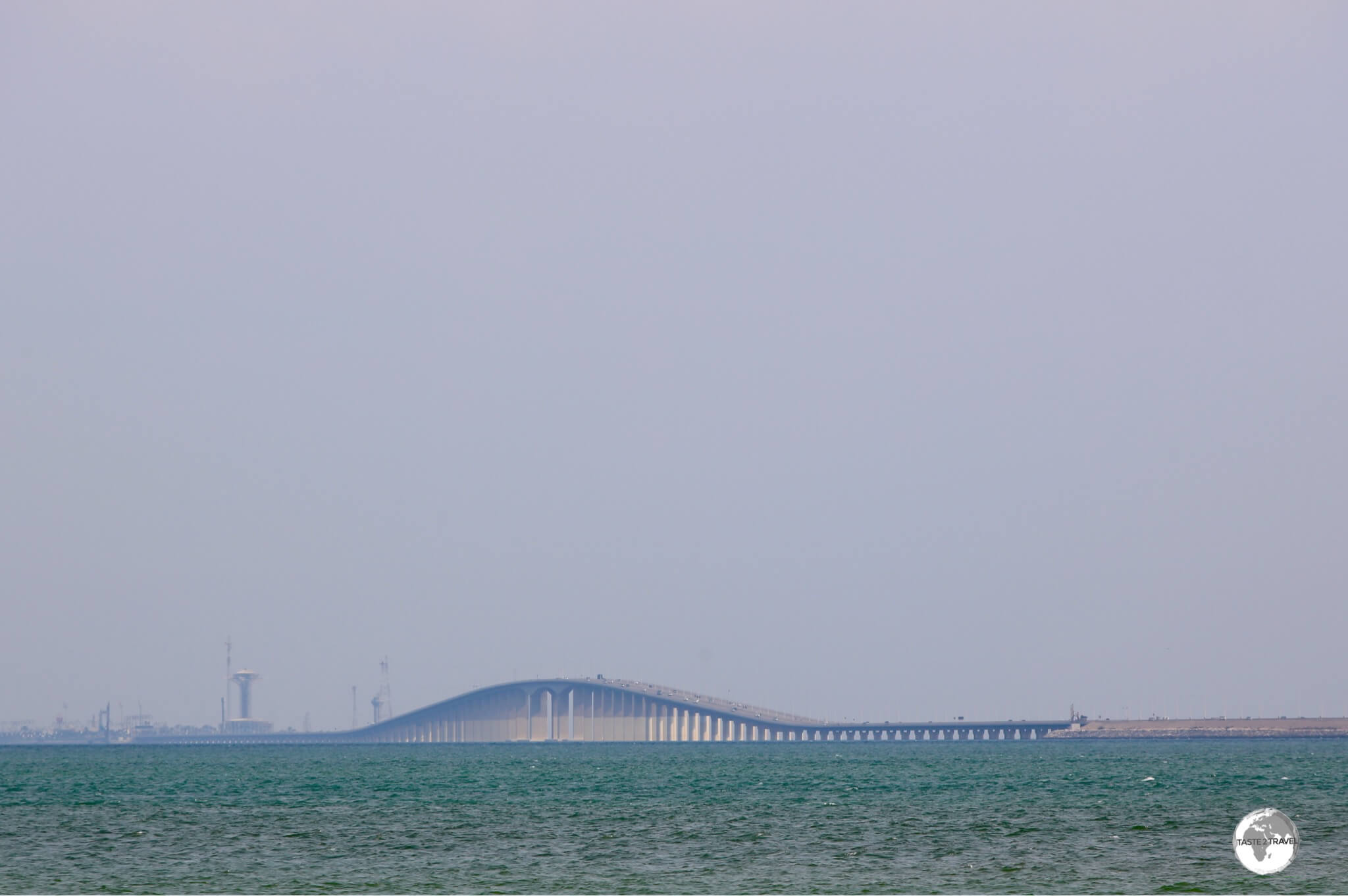 The King Fahd Causeway connects Saudi Arabia to Bahrain.