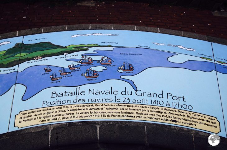 A memorial on the waterfront in Mahébourg illustrates the 1810 battle between the French and British.