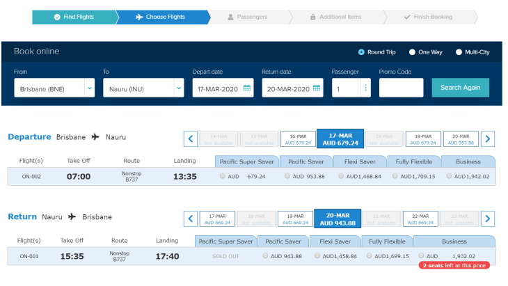The booking screen from the Nauru Airlines website shows typical tickets costs.