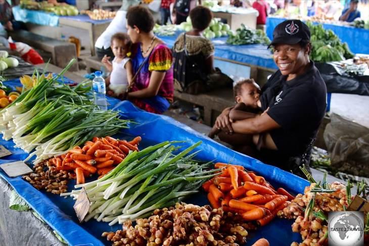 Vegetables for sale in Madang market.