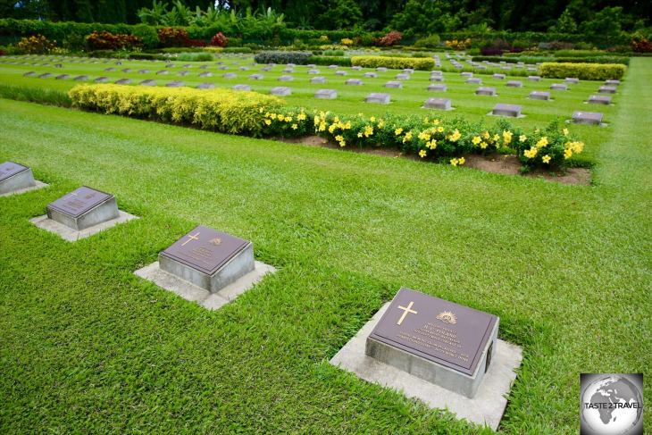 Grave markers for Australian soldiers who died during the many battles which occurred around Lae during WWII.