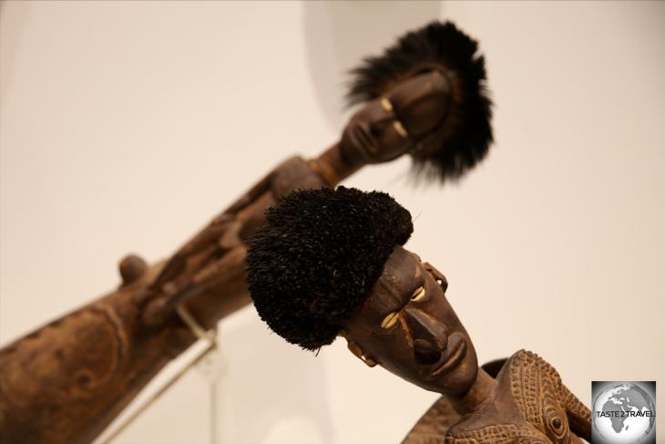 Many of the wooden totems on display at NMAG include human hair in their design.