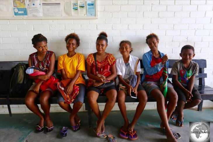 A group of friends at Madang airport.
