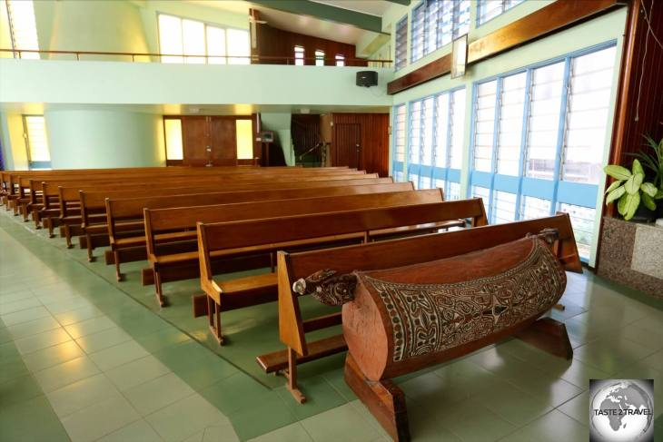 The interior of St. Mary's cathedral which includes a large, traditional, wooden drum.