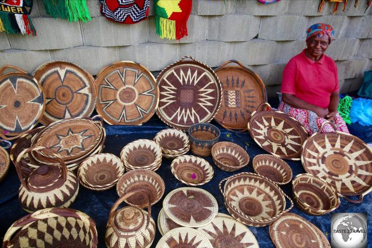 Hand-woven baskets for sale in Port Moresby. Hand-made souvenirs are one of the real bargains in PNG.