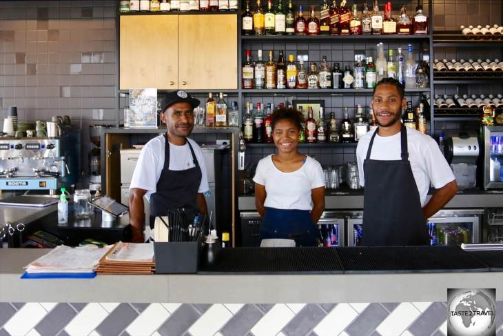 The friendly staff at Mojo Social in Port Moresby.