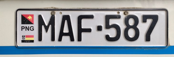 A Madang license plate.