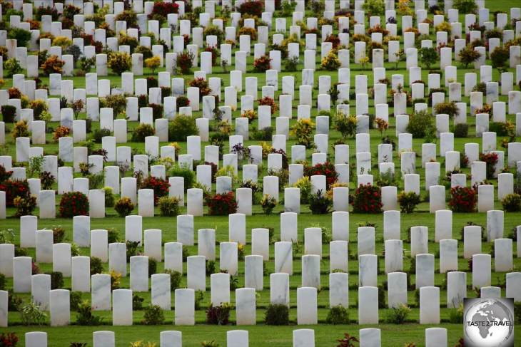 Rows of marble gravestones at the Bomana War Cemetery in Port Moresby.