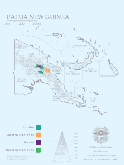 Map showing the coffee growing regions of PNG. Source: https://www.cafeimports.com/europe/papua-new-guinea