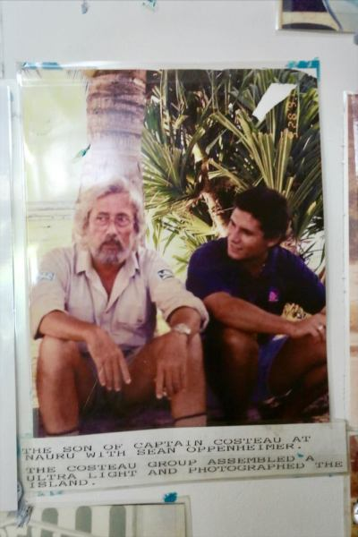 A photo on the wall of the Capelle and Partners office shows Sean Oppenheimer with Jean-Michel Cousteau during his visit to Nauru.