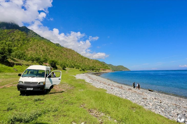 A view of the Dive Timor van parked on the beach at the very remote 'Dirt Track' dive site.