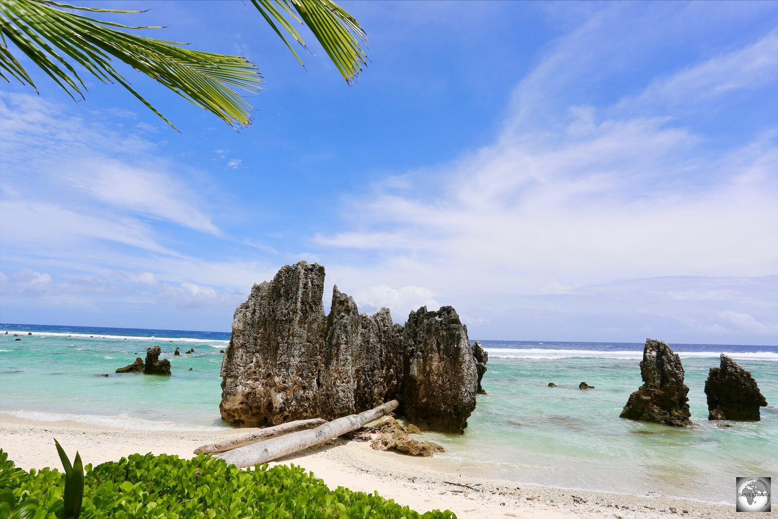 A view of the limestone pinnacles at Anibare Bay.