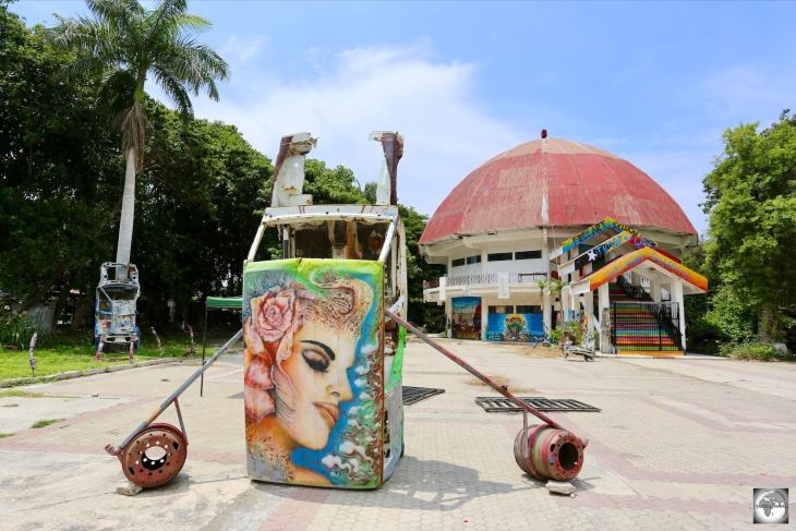 The campus at Arte Moris is full of colourful, surreal artworks which use everyday objects as their canvas.