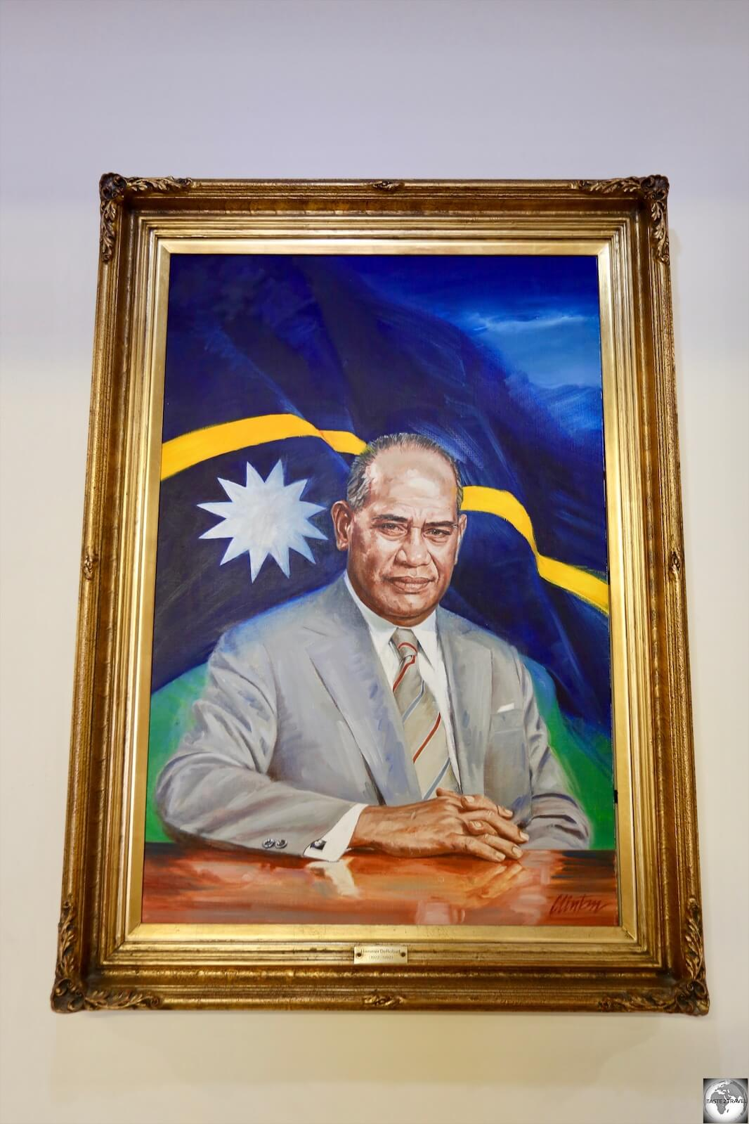 A portrait of the first President of Nauru, Hammer DeRoburt, is displayed inside Parliament House.