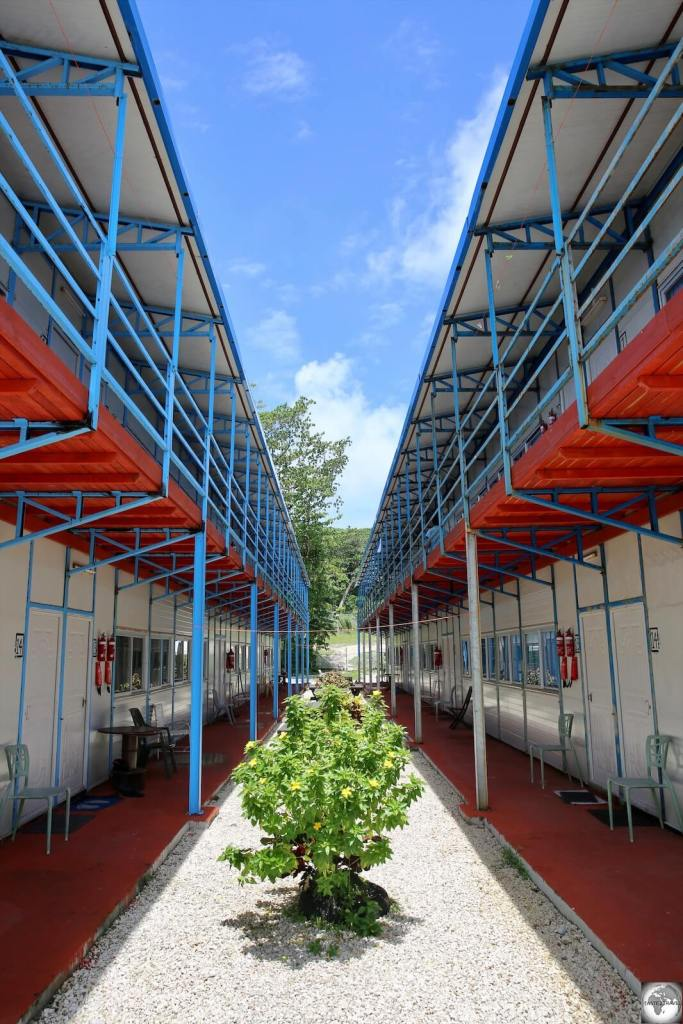 'Shipping container' accommodation at the Menen hotel is used to house Australian staff working at the Refugee Processing Centre.