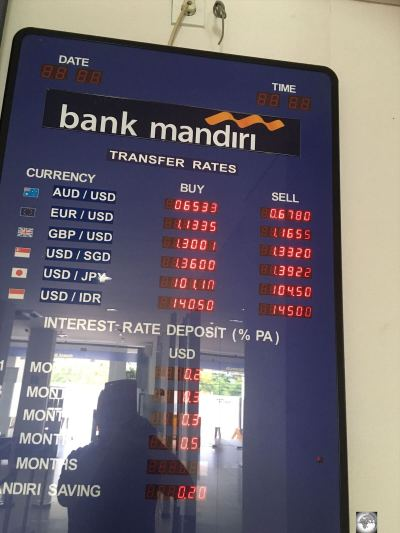 Despite displaying foreign exchange rates, the main branch of Bank Mandiri does not change foreign currency.