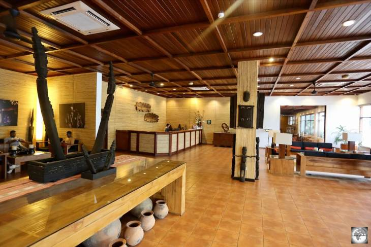 The lobby of the Hotel Timor features displays of Timorese art and photography.