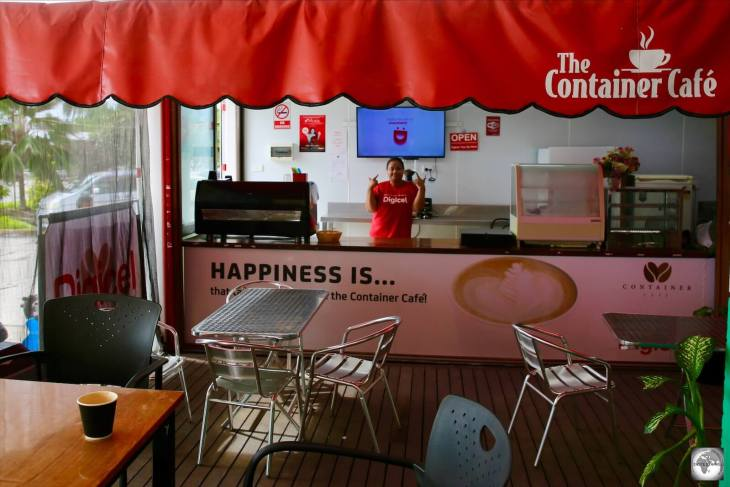 The (Digicel) Container café, with the best barista on Nauru, the friendly Elizabeth.