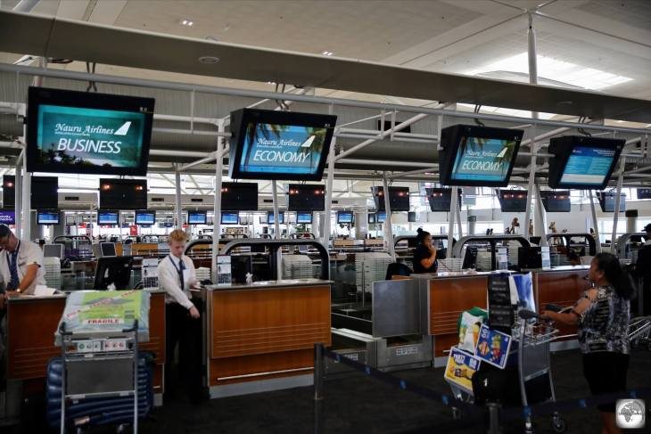 The Nauru Airlines check-in desks at Brisbane airport.
