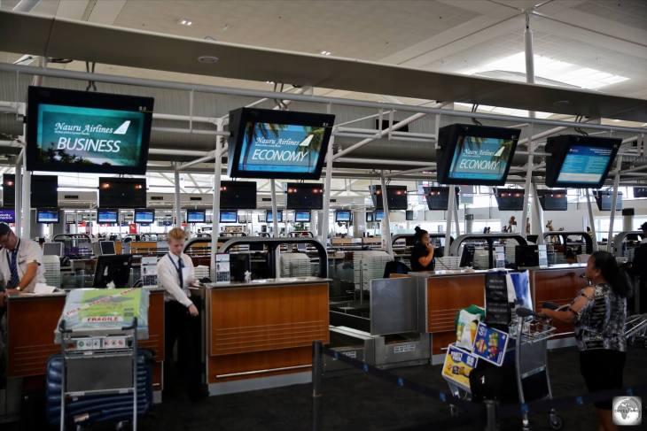 The Nauru Airlines check-in desks at Brisbane airport.