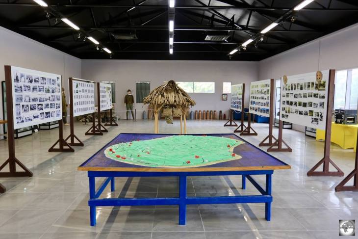 Displays inside the Nauru museum tell the story of Nauru while a model map provides a useful overview of the island.