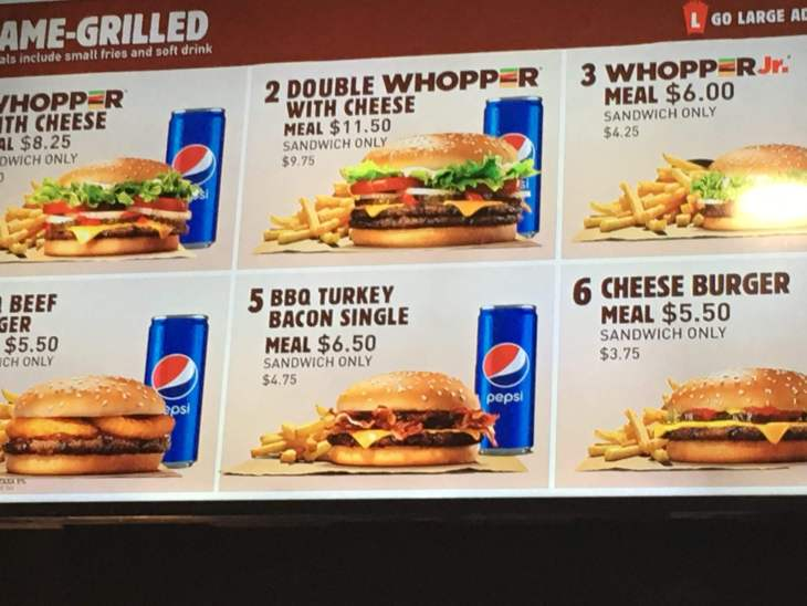 The menu at Burger King in Dili.
