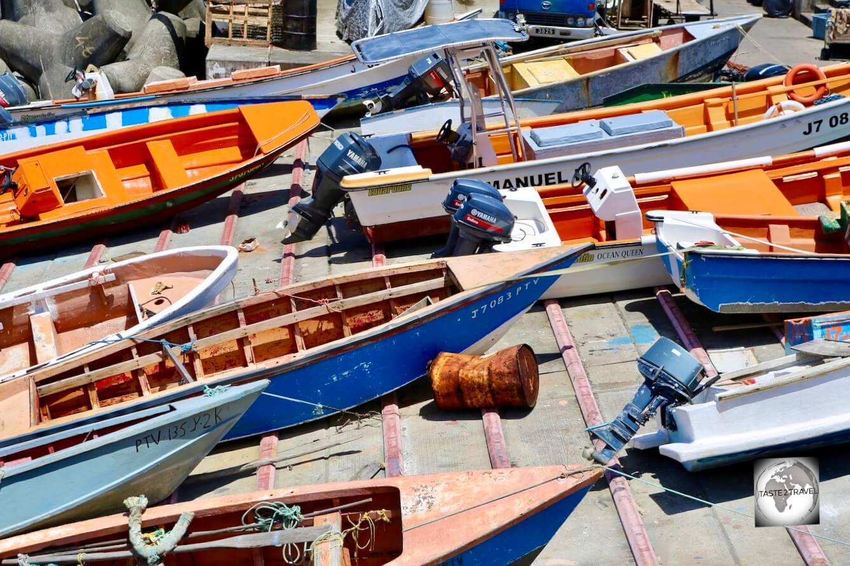 Boats in Roseau port, Dominica.