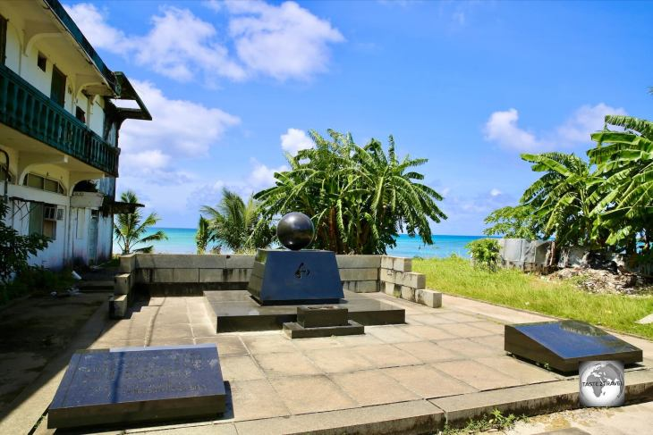 A Japanese WWII memorial in downtown Weno, Chuuk.