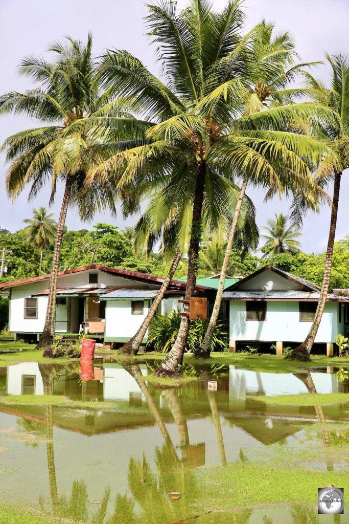 A neighbourhood on Weno island flooded after a recent storm.