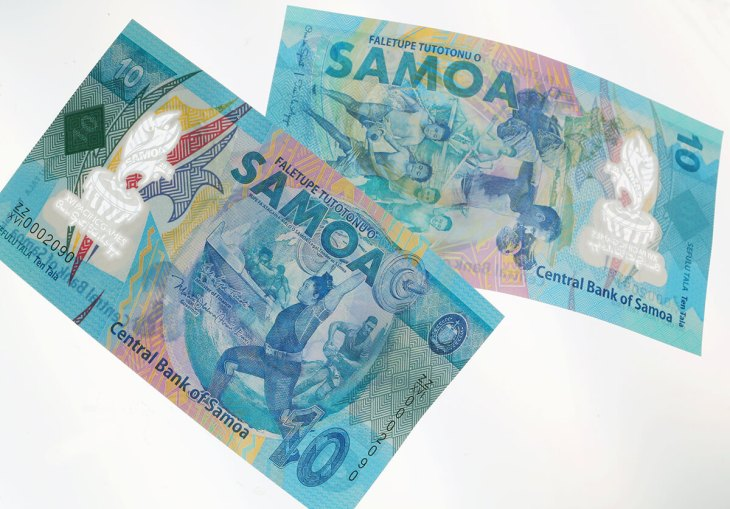 The commemorative 10 Tala bank note, issued to celebrate Samoa's hosting of the 2019 Pacific Games. Source: Thomas De La Rue