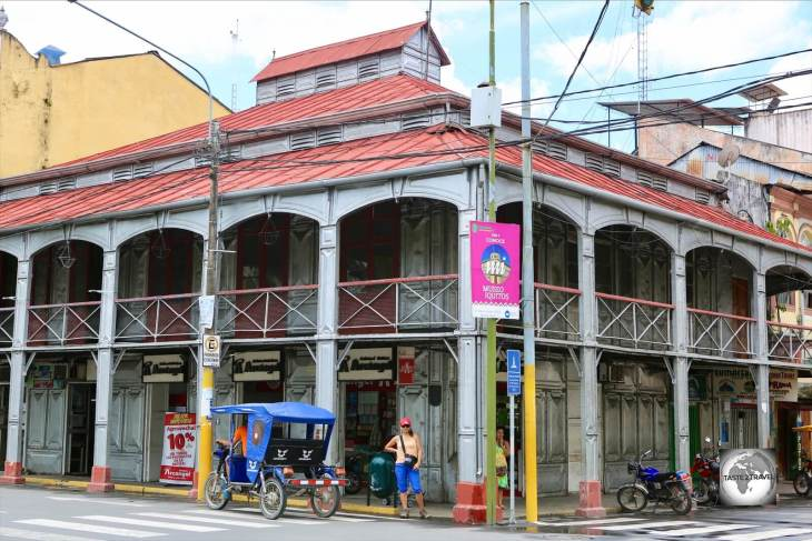 The iconic Casa de Fierro (Iron House), in Iquitos. Peru. Designed by Gustav Eiffel and manufactured in France, it was shipped to Iquitos as a kit, where it was assembled.
