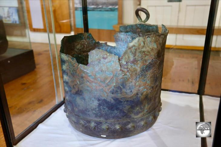 The original kettle from the HMS Bounty which was once used on Pitcairn Island and is now on display at the Norfolk Island museum.