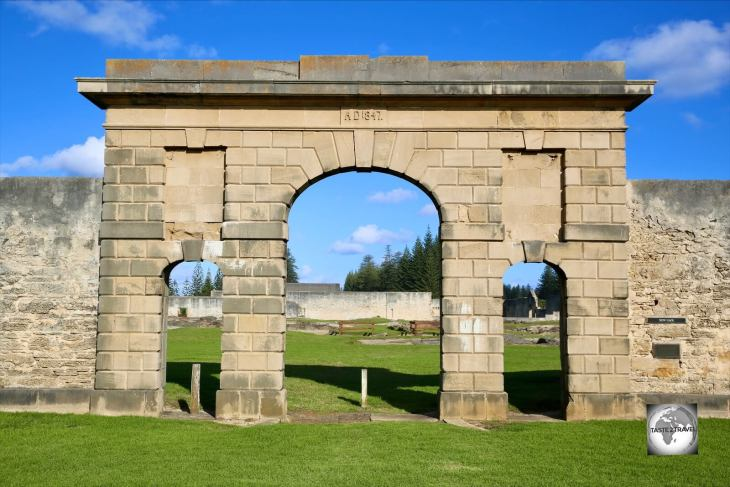 Remains of the main gate to the Norfolk Island Convict Prison in Kingston.